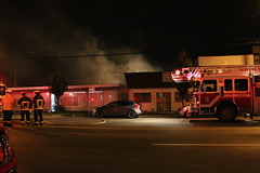 Vancouver Working Fire 1100 E Hastings St (bcfiretrucks) Tags: light rescue canada building alarm vancouver fire support 1st smoke air working engine columbia structure flame british ladder hastings department spartan quint smeal