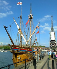 Looking at The Matthew (southglosguytwo) Tags: sky water bristol boats harbour crane thematthew 2013 variouspeople