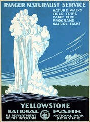 Yellowstone National Park, Ranger Naturalist Service (sjrankin) Tags: illustration poster nationalpark edited library 1938 oldfaithful yellowstonenationalpark libraryofcongress nationalparkservice usdepartmentoftheinterior rangernaturalistservice 25december2013