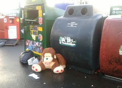 Monkey's Aren't Just For Christmas (Michelle O'Connell Photography) Tags: abandoned toy glasgow recycle bins cuddlytoy dumped babymonkey knightswood clothingbanks michelleoconnellphotography knightswoodshoppingcentre