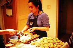 Sushi and Matcha Croquembouche (jjldickinson) Tags: cooking dinner sushi french dessert japanese longbeach pastry wrigley nikkor matcha greentea nikonf croquembouche fujicolorsuperiaxtra400 nikkors50mmf14 nikonfphotomicftn alexdickinson tiffen52mmsky1a harunayamazaki roll464n