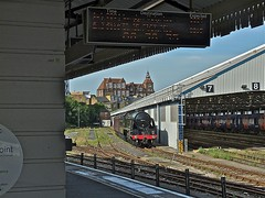 Lurking Visitor (Deepgreen2009) Tags: station yard train shed railway steam southern visitor kingarthur claphamjunction uksteam sirlamiel stabled
