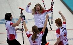 Sochi Ru.Feb19-2014.Winter Olympic Games.Team Canada skip Jennifer Jones,lead Dawn McEwen,second Jill Officer,third Kaitlyn Lawes.WCF/michael burns photo (seasonofchampions) Tags: jones russia jennifer canadian celebration olympics curling sochi semifinal captionthis jenniferjones jillofficer sochi2014 kaitlynlawes dawnmcewen