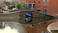 A hidden loading wharf (eucharisto deo) Tags: street old bridge reflection st canal birmingham paradise bcn basin gas wharf network reflectedbridge