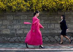 FEMMES NORD COREENNES A PYONGYANG, COREE DU NORD (Eric Lafforgue Photography) Tags: life voyage street travel pink woman color colour girl horizontal modern asia dress robe feminine femme streetscene hanbok asie dailylife tradition custom rue 2008 fille couleur adultsonly northkorea ideology axisofevil pyongyang eastasia feminin dprk traditionalclothing juche traditionnel coleur viequotidienne coutume scenederue traditionnal dictature democraticpeoplesrepublicofkorea koreanpeninsula juchesocialistrepublic coreedunord rdpc koreanethnicity insidenorthkorea joseonot
