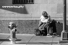 In search of Opportunity (infinishot) Tags: sf life sanfrancisco california street city people urban blackandwhite bw photography candid homeless poor streetphotography gritty bayarea canon70d