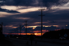 sunset (mon_ster67) Tags: sunset sky nature colors night clouds dusk headlights mon naturalwonders powerpoles mon