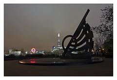 London night photo walk (Christin Tietjen) Tags: uk longexposure england sky sun london night dark underground tube dial shard