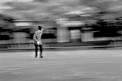 Skate Motion (KVLWINDXR) Tags: street city sky bw white motion black building fall cars statue night contrast dark landscape photography lights nikon scenery cityscape skateboarding explosion citylife streetphotography skate citylights skateboard tracking nightcity d3100