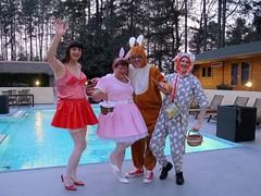 Easter bunnies (Paula Satijn) Tags: red white sexy bunny stockings girl garden easter pumps skirt tgirl satin miniskirt gurl pvc pvcskirt