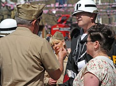 Haworth 1940's Weekend 2014 -  IMG_9777 (grab a shot) Tags: uk england woman man canon vintage soldier army eos war uniform military yorkshire wwii 1940s 7d ww2 mp reenactment westyorkshire civilian homefront worldwar2 oldfashioned usarmy haworth livinghistory 2014 warweekend brontecountry haworth1940sweekend