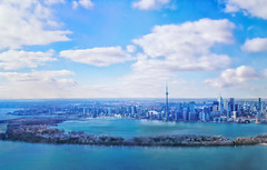 Toronto over the Island (creditflats) Tags: harbourfront olympus pen ep5 45mm toronto waterfront island cn tower rogerscentre queensquay landscape skyline blue sky clouds water lake lakeontario canada flight plane travel city cityscape micro43 fly to tca