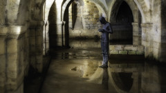 """Man Contemplating  Water (Stephen Reed. """"Over 1 Million Views Thanks"""") Tags: antonygormley sculpture crypt cathedral winchester hampshire sonyrx100iii sonyphotographing england lightroomcc colorefexpro4 photoshopcc"""