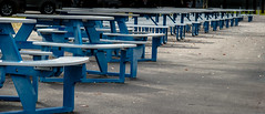Picnic site... (Pedro1742) Tags: wood blue picnic seats repetition
