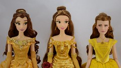 Limited Edition Ball Gown Belle 17'' Dolls - 2010, 2016 and 2017 - Disney Store - Portrait Front View (drj1828) Tags: disneystore limitededition beautyandthebeast belle ballgown yellow 2010 2016 2017 17inch collectible groupphoto