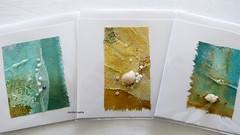 cards with artwork (Carolyn Saxby) Tags: textiles seaside rockpools beach rock pools cotton texture paintedtextiles stitch frenchknots shells art cards envelopes textileart yellow aqua green carolynsaxby