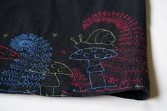 """skirt with """"forest"""" embroidery (cernaovec) Tags: embroidery freemotionembroidery forest toadstool mushroom snail nature illustration thread threadpainting textile textileart"""
