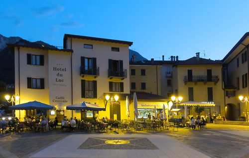 Menaggio at night.  Hotel du Lac and Caffe Centrale