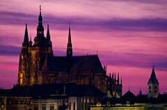 St. Vitus Cathedral (Darby Sawchuk) Tags: travel pink sunset vacation sky holiday building history church silhouette architecture evening europe european prague cathedral religion gothic culture praha architectural historic christian czechrepublic cultural romancatholic stvituscathedral praguecastle katedrlasvathovta