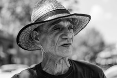 an old bohemian (iBalki) Tags: city portrait people blackandwhite bw eyes nikon flickr dof bokeh croatia naturallight oldman zagreb heat nikkor bohemian peopleonthestreet nikond600 50mm18g
