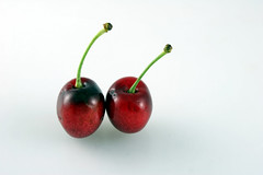 Two Cherries (Alisha of LafLife) Tags: red two food fruit cherry cherries sweet tasty fresh stalk