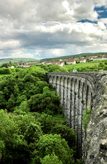 Cefn Coed Viaduct (Serge Freeman) Tags: uk bridge green wales clouds viaduct hills