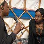 Chimamanda Ngozi Adichie being interviewed
