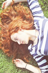 She burns like the sun. (ophelia_jdr) Tags: wien park red portrait nature girl beautiful face grass vintage hair austria ginger model eyes makeup redhead curly indie sight redhair hairstyle
