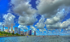 Chicago skyline from Shedd's (flickaway1) Tags: park blue summer sky lake chicago tower fountain skyline clouds canon buildings illinois warm day 5 michigan towers millennium canvas buckingham trump willis lightroom t3i photomatix