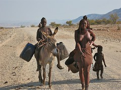 Going for water (vittorio vida) Tags: namibia street woman donkey kid boy breast boobs nude barebreast africa road desert children himba travel 50