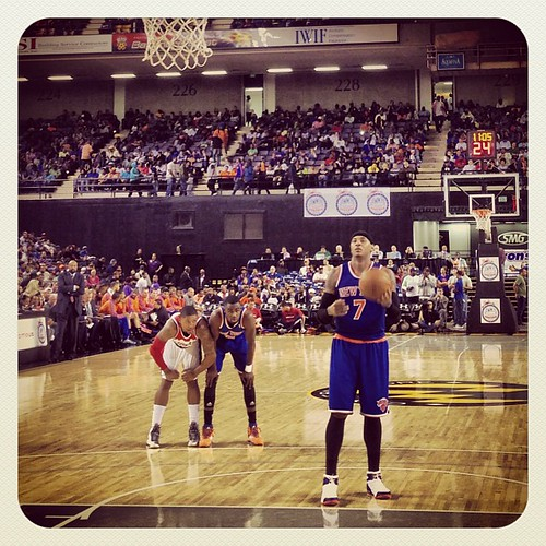 From Baltimore: Carmelo at the line (Beal jockeying for position in the background). #Wizards-#Knicks