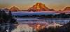 Oxbow Bow Bend before sunrise (Marvin Bredel) Tags: moon mist water fog clouds reflections river landscape nationalpark bravo unitedstates wyoming mountmoran tetons moran jacksonhole beforesunrise grandtetonnationalpark canoneos6d marvinbredel oxbowbowbend