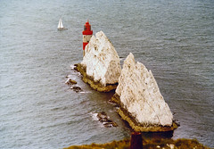 The Needles 1982, England, UK (Beardy Vulcan) Tags: sea summer england lighthouse water coast boat chalk 1982 yacht july stack isleofwight 20thcentury theneedles westwight totlandbay diamondclassphotographer watercaft