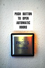 Does this make sense?? (Raymondo166) Tags: door broken doors open beam automatic button infrared push why moment supposed sensor asked