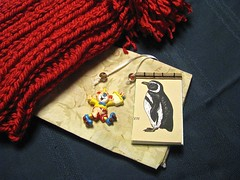 A great day for mail! (Librarianguish) Tags: hat bag penguin mail clown treats delivery handmadebook 114 reflectiveyarn
