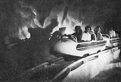 Matterhorn 1978 - bobsled riding (Tom Simpson) Tags: vintage track disneyland disney 70s 1978 matterhorn 1970s bobsled vintagedisneyland vintagedisney matterhornbobsled