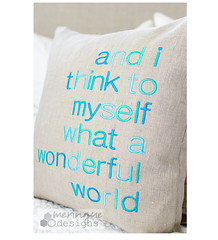 what a wonderful world (meringuedesigns) Tags: linen sewing pillow embroidered bernina830 meringuedesigns