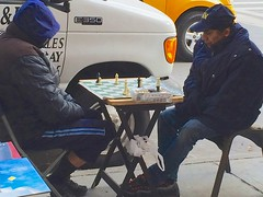 Chess game at the corner (Ed Yourdon) Tags: friends newyork game corner table manhattan broadway chess upperwestside iphone5sbackcamera412mmf22 iphoneburst