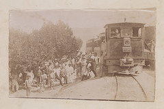 [Group of Men Standing by Locomotive 4, La Guaira and Caracas Railway] (SMU Central University Libraries) Tags: men workers trains locomotives railroads lgc zigzagstation laguayra laguairaandcaracasrailway ferrocarrillaguairaycaracas