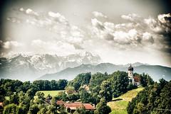 Holzhausen Bayern (Hannes Mauerer) Tags: trees sky mountains bayern bavaria kirche wolke wolken berge wald bume zugspitze holzhausen wlder mauerer jmauerer