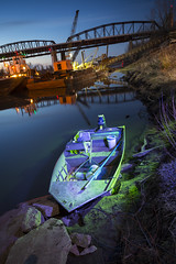 Glasgow Light Painting (Notley) Tags: longexposure bridge light lightpainting green night river lights boat nightlights glasgow missouri april bluehour redlight barge nocturne bluelight missouririver lichtmalerei howardcounty 2014 thebluehour  10thavenue purplelight glasgowmissouri notley missouririverbridge ruralphotography notleyhawkins pinturadeluz   howardcountymissouri missouriphotography httpwwwnotleyhawkinscom notleyhawkinsphotography