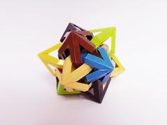 """Crystals"" Six Interlocking Skew Parabiaugmented Pentagonal Prisms (Clint Joe) Tags: paper origami crystals yang modular clint prisms six weave paperfolding folding kami wireframe interlocking modules units kawashima hideaki paperstrips"