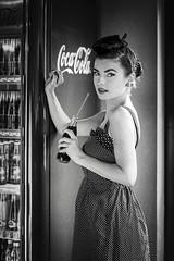Rockabilly Girl vs Coca-Cola (kozjar's Photography) Tags: portrait bw sexy girl analog vintage retro rockabilly cocacola pinup kodaktmax400 kozjar casinodiner