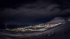 Longyearbyen city lights (Steven-ch) Tags: polarnight svalbard winter mountains canon town snow norway eos5dmarkiv travel spitsbergen citylights powerplant longyearbyen artic europe panorama valley svalbardandjanmayen sj fjord