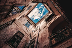 things are looking up (cherryspicks (on/off)) Tags: architecture building window sky cloud texture historic old zagreb croatia perspective