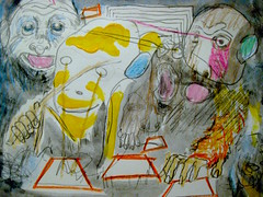 Trapezoid Howlers (giveawayboy) Tags: pencil crayon drawing sketch art acrylic paint painting fch tampa artist giveawayboy billrogers trapezoid howlers howlermonkeys monkeys apes monkey ape wmotf