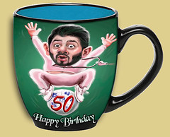 Personalized 50th birthday cup, gift ideas for men turning 50 (100 Photo Art Ideas) Tags: collage montage photo picture caricature cartoon 30th 40th 50th 60th 70th 80th cup mug