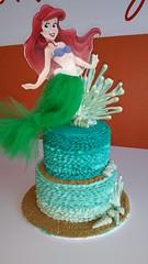 Little Mermaid Ombre Ruffle Cake (devbydylan) Tags: cake ombre birthday nautical ocean sea disney princess reef shells girly teal sand coral beach littlemermaid mermaid ariel