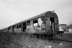 BIG BROTHER IS WATCHING YOU! (y'phoz) Tags: graffiti serbia beograd belgrade kentmere ricoh gr1s blackandwhite monochrome abandoned abandon train graffititrain film