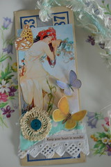 Keep your heart in wonder (alteredmoments) Tags: mucha tag collage journaltag mixedmedia alteredmoments bingocard vintageephemera